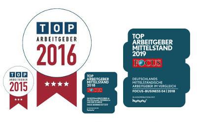 LIST Gruppe TOP Arbeitgeber Siegel 2015-2019